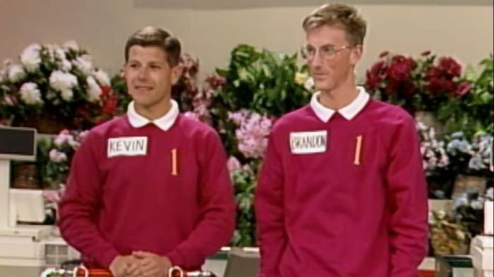 Kevin and Brandon on 'Supermarket Sweep' in the 90s