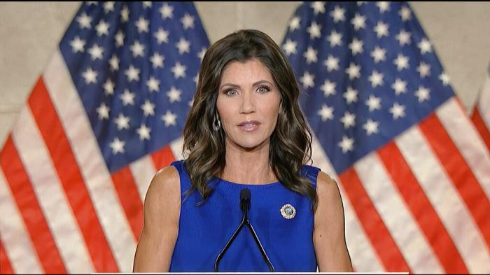 South Dakota Gov. Kristi Noem speaks during the third night of the Republican National Convention.