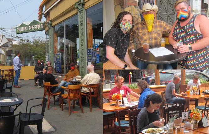 Patrons dine and sip outdoors at Twin Peaks, 440, and Cafe Mystique