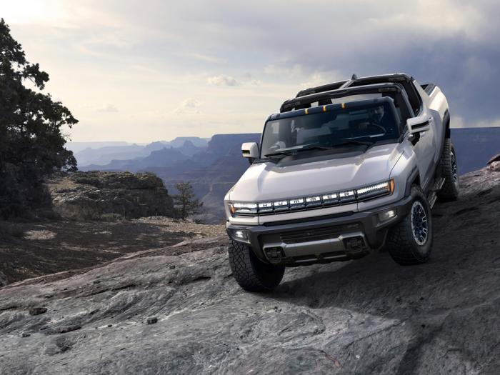 This photo provided by General Motors Co. shows the 2022 GMC Hummer EV. On Tuesday, Oct. 20, 2020, the company's GMC brand introduced the new electric Hummer pickup, with a high-end version due in showrooms sometime in the fall of 2021