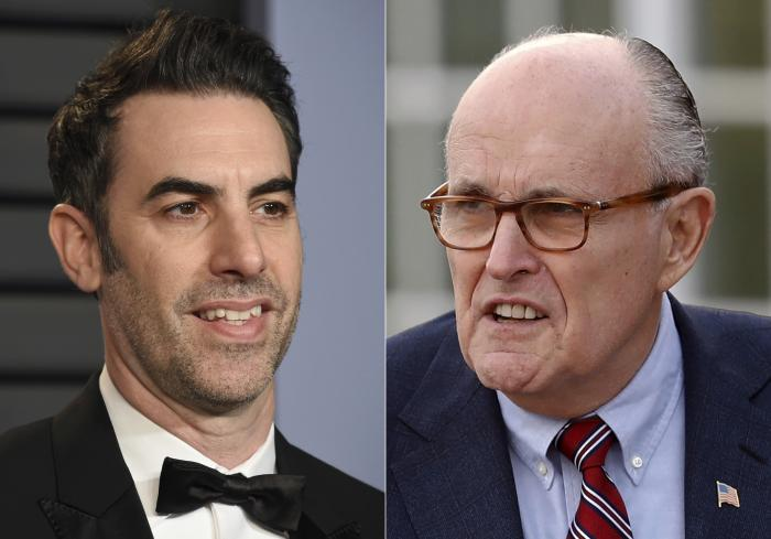 Sacha Baron Cohen, left, and former New York Mayor Rudy Giuliani.