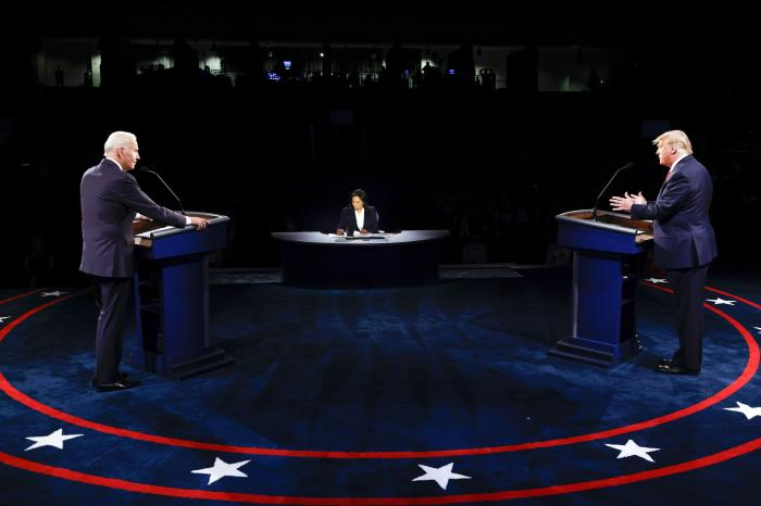 President Donald Trump and Democratic presidential candidate former Vice President Joe Biden participate in the final presidential debate at Belmont University.