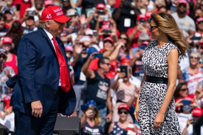 President Donald Trump and First Lady Melania at a Florida campaign event on October 29, 2020