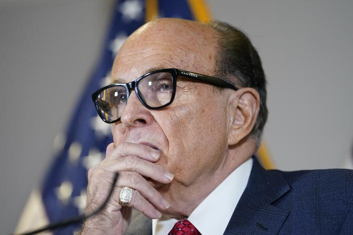 Former Mayor of New York Rudy Giuliani, a lawyer for President Donald Trump, speaks during a news conference at the Republican National Committee headquarters.