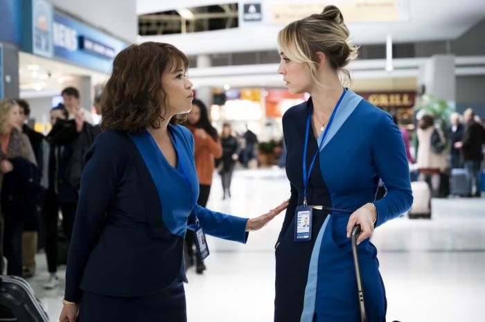 """Rosie Perez, left, and Kaley Cuoco in a scene from """"The Flight Attendant."""""""