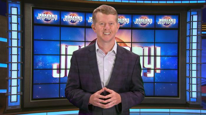 This image released by JEOPARDY! shows Ken Jennings, a 74-time champion the the set of the popular quiz show. Jennings will be the first interim guest for the late Alex Trebek, and the show will try other guest hosts before naming a permanent replacement. (JEOPARDY! via AP)