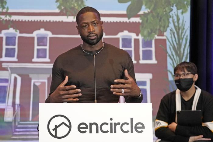 NBA All-Star Dwyane Wade speaks during a news conference Wednesday, Oct. 13, 2021, in Salt Lake City.